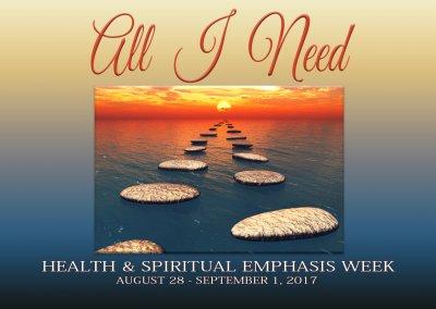 Health and Spiritual Emphasis Week August 28 – September 1, 2017