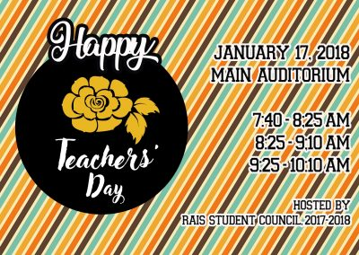 Student Council Officers Will Host Teachers' Day Programs on January 17, 2018