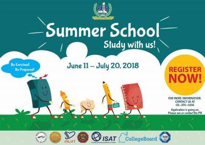 Summer School  June 11 – July 20, 2018