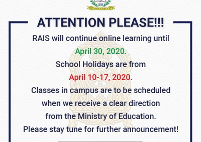 RAIS will continue online learning until Thursday 30 April, 2020