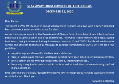 Stay away from covid-19 affected areas, December 22, 2020